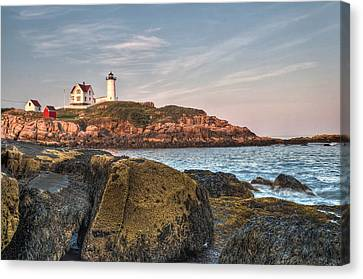 Cape Neddick Lighthouse From The Rocks Canvas Print by At Lands End Photography