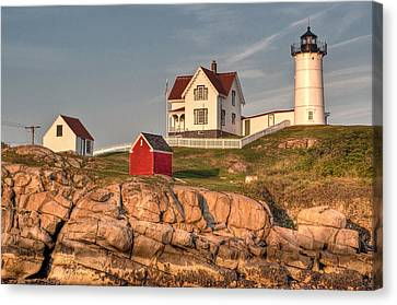 Cape Neddick Lighthouse In Evening Light 2 Canvas Print by At Lands End Photography