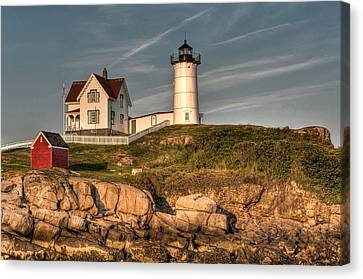 Cape Neddick Lighthouse In Evening Light Canvas Print by At Lands End Photography
