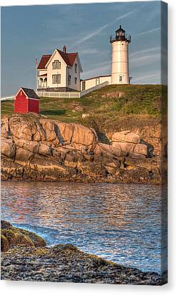 Cape Neddick Lighthouse In Evening Light - Portrait Canvas Print by At Lands End Photography