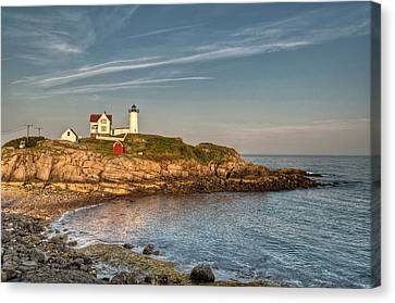 Cape Neddick Lighthouse Island In Evening Light Canvas Print by At Lands End Photography