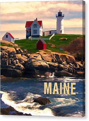 Cape Neddick Lighthouse Maine  At Sunset  Canvas Print by Elaine Plesser