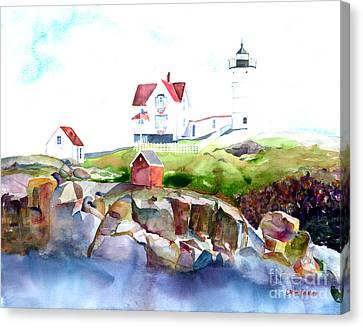 Cape Neddick Lighthouse Me Canvas Print by Carla Palmer