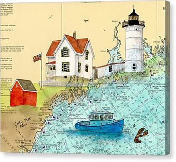 Cape Neddick Lighthouse Me Nautical Chart Map Art Cathy Peek Canvas Print by Cathy Peek