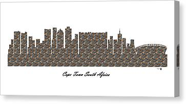 Cape Town South Africa 3d Stone Wall Skyline Canvas Print