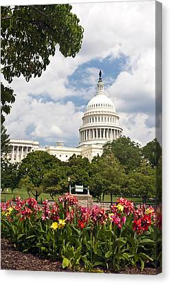 Capitol Buildingwashington Dc And Flower Garden Canvas Print