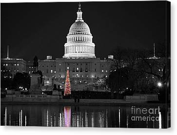 Canvas Print featuring the photograph Capitol Christmas by Shawn O'Brien
