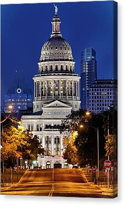 Long Street Canvas Print - Capitol Of Texas by Silvio Ligutti