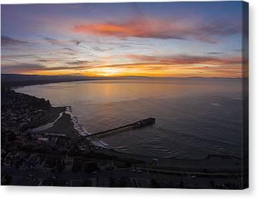 Capitola Wharf Sunrise Canvas Print by David Levy