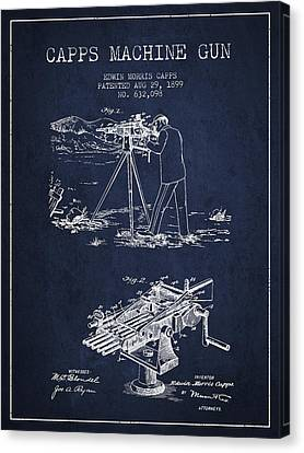 Capps Machine Gun Patent Drawing From 1899 - Navy Blue Canvas Print by Aged Pixel