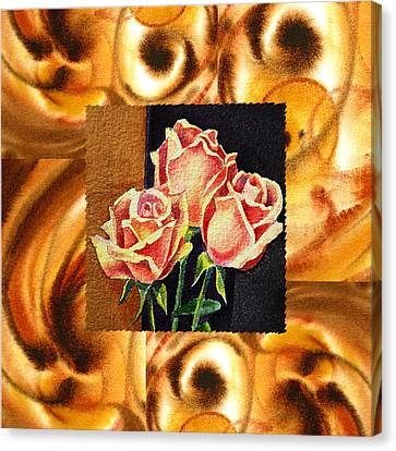 Cappuccino Abstract Collage French Roses Canvas Print by Irina Sztukowski