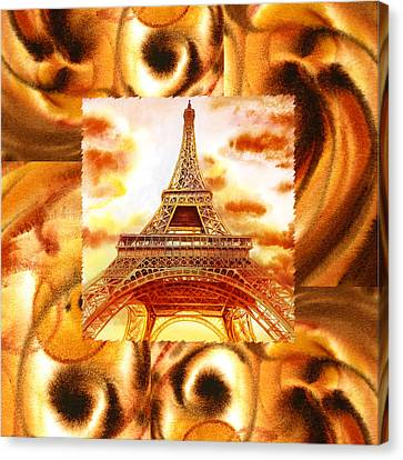 Cappuccino In Paris Abstract Collage Eiffel Tower Canvas Print by Irina Sztukowski