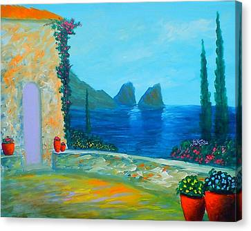 Canvas Print featuring the painting Capri Colors by Larry Cirigliano