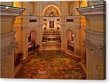 Capri San Michele Church Decorated Pavement Canvas Print by Enrico Pelos