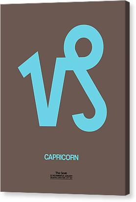 Zodiac Signs Canvas Print - Capricorn Zodiac Sign Blue by Naxart Studio