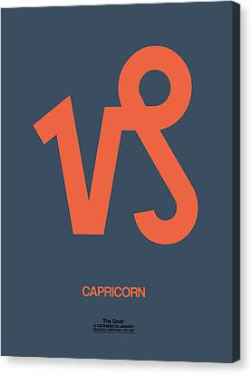 Zodiac Signs Canvas Print - Capricorn Zodiac Sign Orange by Naxart Studio
