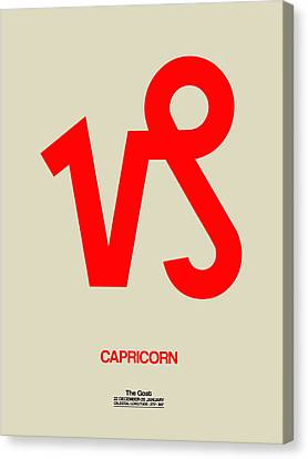 Zodiac Signs Canvas Print - Capricorn Zodiac Sign Red by Naxart Studio