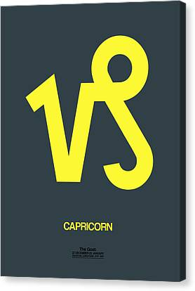 Zodiac Signs Canvas Print - Capricorn Zodiac Sign Yellow by Naxart Studio
