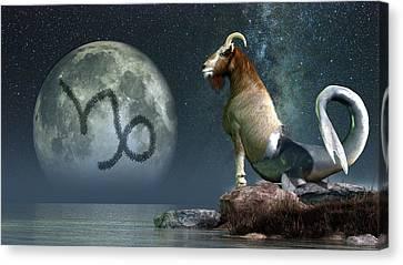 Capricorn Zodiac Symbol Canvas Print by Daniel Eskridge