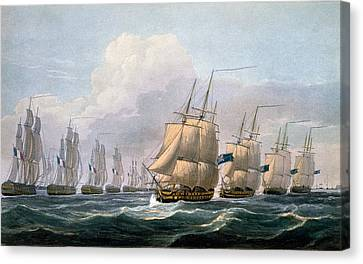 Water Vessels Canvas Print - Hms Theseus by Frederick Christian Lewis