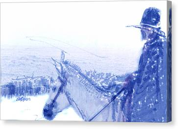 Capt. Call In A Snowstorm Canvas Print by Seth Weaver