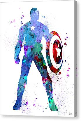 Captain America Canvas Print - Captain America 2 by Watercolor Girl