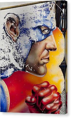 Captain America Canvas Print by Mike Greenslade