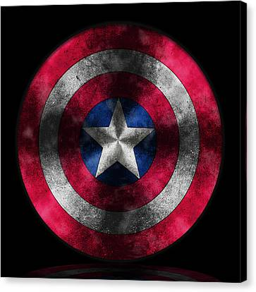 Captain America Canvas Print - Captain America Shield by Georgeta Blanaru