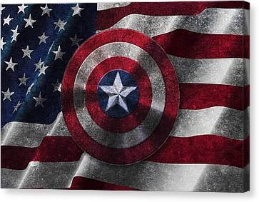 Captain America Shield On Usa Flag Canvas Print