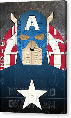 America Canvas Print - Captain America Superhero Portrait Recycled License Plate Art by Design Turnpike