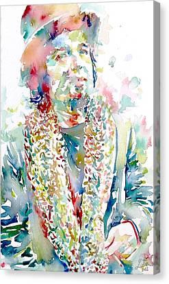 Captain Beefheart Watercolor Portrait.2 Canvas Print by Fabrizio Cassetta