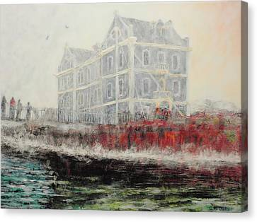 Captains Manor In The Fog Canvas Print by Michael Durst