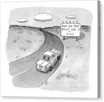 Road Sign Canvas Print - Captionless 'mom And Dad Really Lose It  -  1/4 by Roz Chast