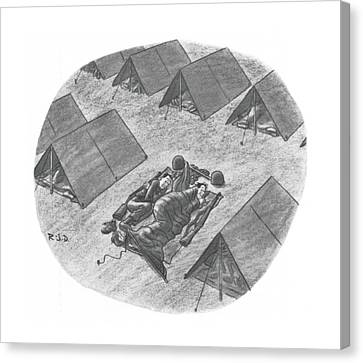 Camping Canvas Print - Captionless Top Has Blown Off Tent. Two Soldiers by Robert J. Day