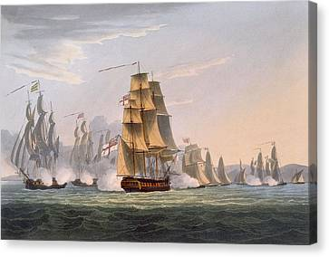 Capture Of Le Sparviere Canvas Print by Thomas Whitcombe