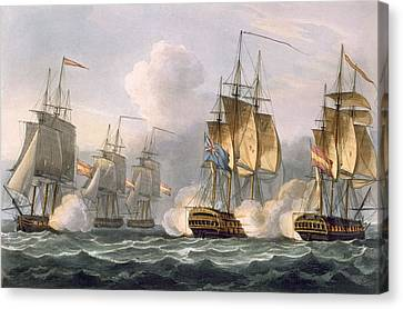 Capture Of The Dorothea Canvas Print by Thomas Whitcombe