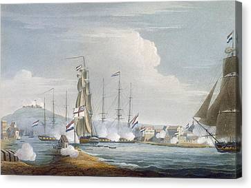 Capture Of The Port Of Curacoa, Dutch Canvas Print by Thomas Whitcombe