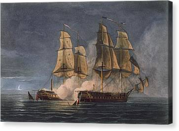 Capture Of The Thetis By Hms Amethyst Canvas Print by Thomas Whitcombe