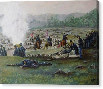 Capturing The Flag-picketts Charge Canvas Print by Joann Renner