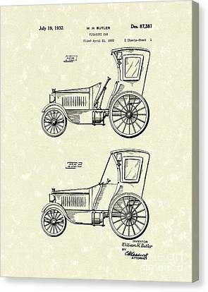 Pleasure Canvas Print - Car 1932 Patent Art by Prior Art Design