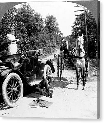Car And Carriage, 1914 Canvas Print by Granger
