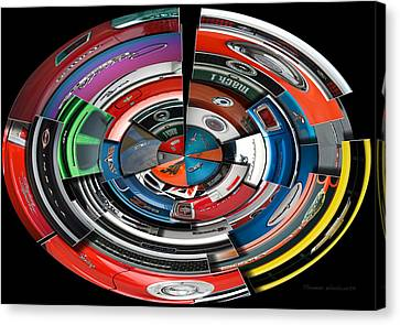 Coller Canvas Print - Car Badges Collage Polar View by Thomas Woolworth