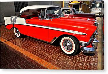 Car - Bel Air - Red Canvas Print by Liane Wright