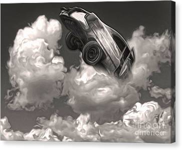 Canvas Print featuring the painting Car Crash In The Clouds by Gregory Dyer