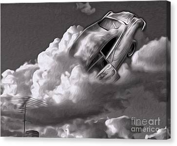 Canvas Print featuring the painting Car Crash In The Clouds - Number 2 by Gregory Dyer