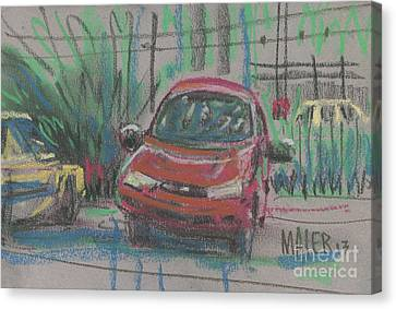 Canvas Print featuring the painting Car Crazy by Donald Maier