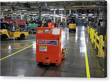 Car Factory Automated Delivery System Canvas Print by Jim West