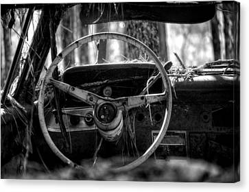Car In The Woods In Black And White Canvas Print by Greg Mimbs