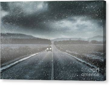 Car On Rural Road In Early Winter Canvas Print by Sandra Cunningham