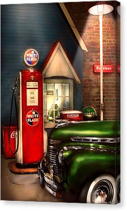 Suburbanscenes Canvas Print - Car - Station - White Flash Gasoline by Mike Savad